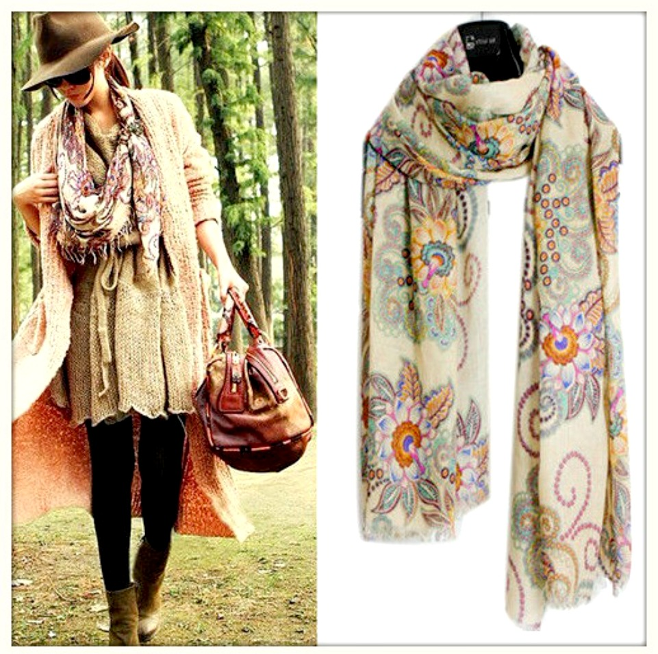 BOHO CHIC SCARF Floral Vintage Look Long Scarf