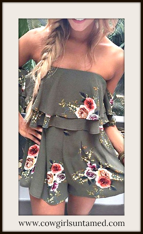 BOHEMIAN COWGIRL ROMPER Floral Off the Shoulder Boho Chic Olive Green  Romper