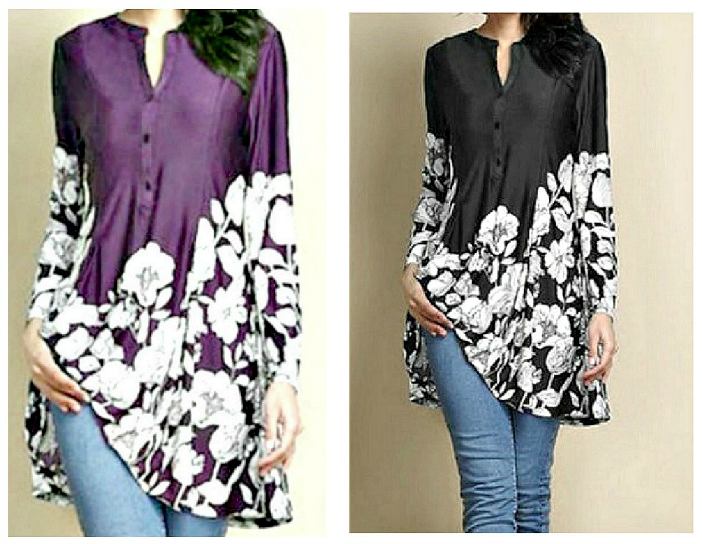 NO PLAIN JANE HERE TOP Floral Long Sleeve Casual Tunic Blouse Misses & Plus - 3 Colors!