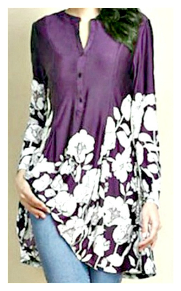 THE JEMMA TOP Floral Long Sleeve Casual Tunic Blouse Misses & Plus - 3 Colors!