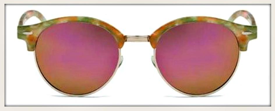 GOING GLAM SUNGLASSES UV400 Floral Arm Round Polarized Sunglasses