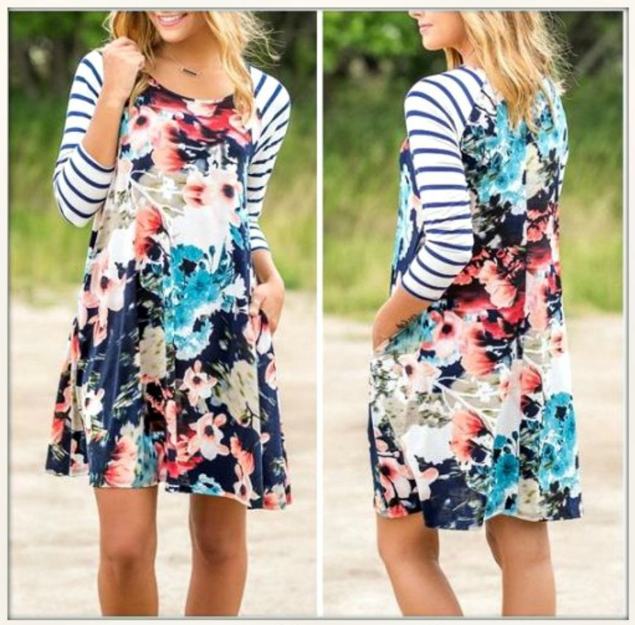 THE ELLIE DRESS Blue & White Stripe Sleeves Floral Mini Dress
