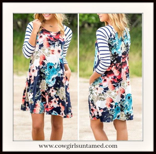 DREAM RANCH DRESS Blue & White Stripe Sleeves Floral Mini Dress