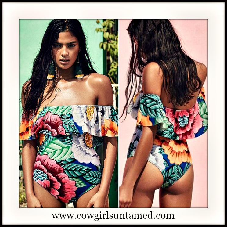SUNDANCE COWGIRL SWIMSUIT Bright Floral Off the Shoulder One Piece Swimsuit