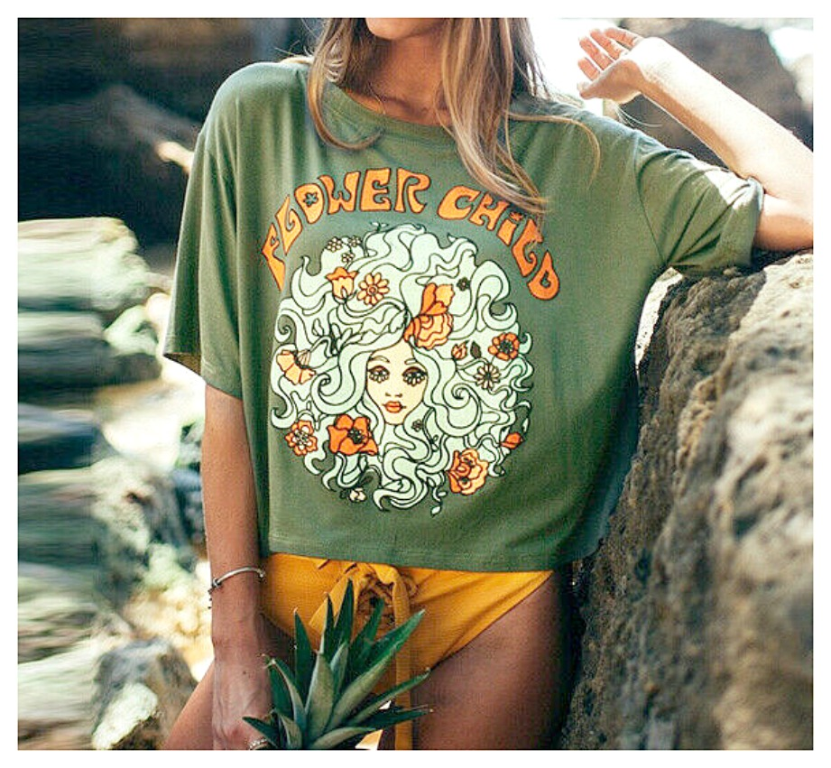 """FLOWER CHILD TOP """"Flower Girl"""" Olive Green Floral Shorty Sleeve Hippie T-Shirt LAST ONE"""