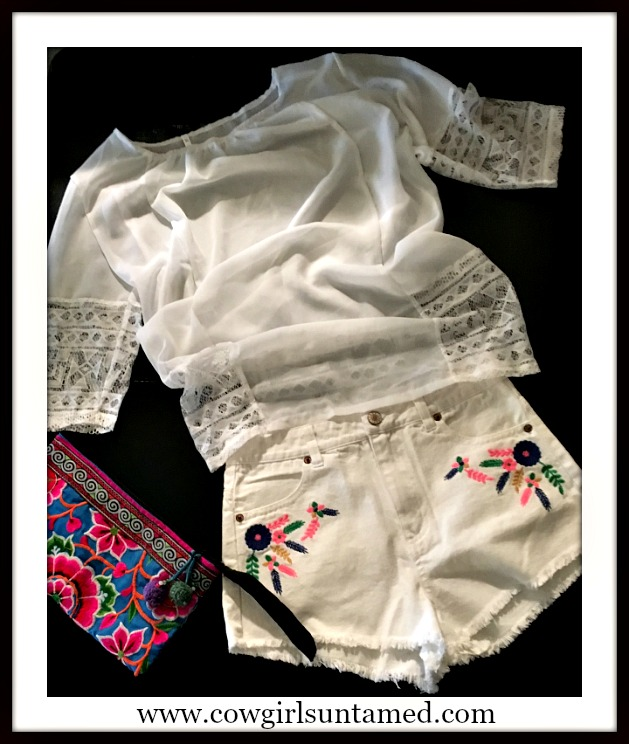 COWGIRL GYPSY SHORTS Multi Color Floral Feather Embroidered White Jean Cut Offs FREE TOP