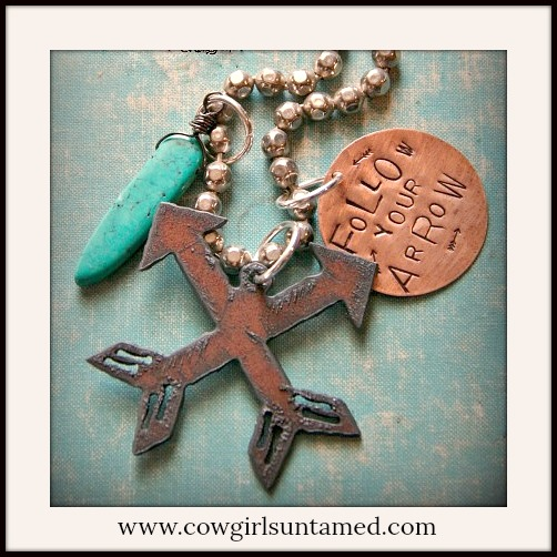 "COWGIRL GYPSY NECKLACE ""Follow Your Arrow"" Copper Rustic Metal Arrow Turquoise Charm BOHO Necklace"