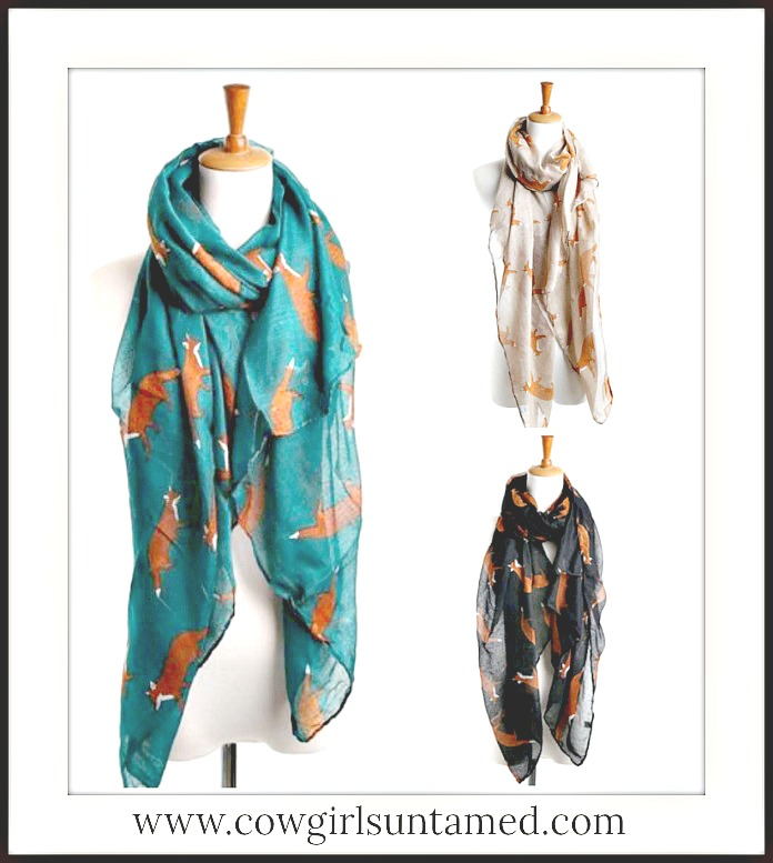 WILDFLOWER SCARF Fox Pattern Long Scarf  3 COLORS!