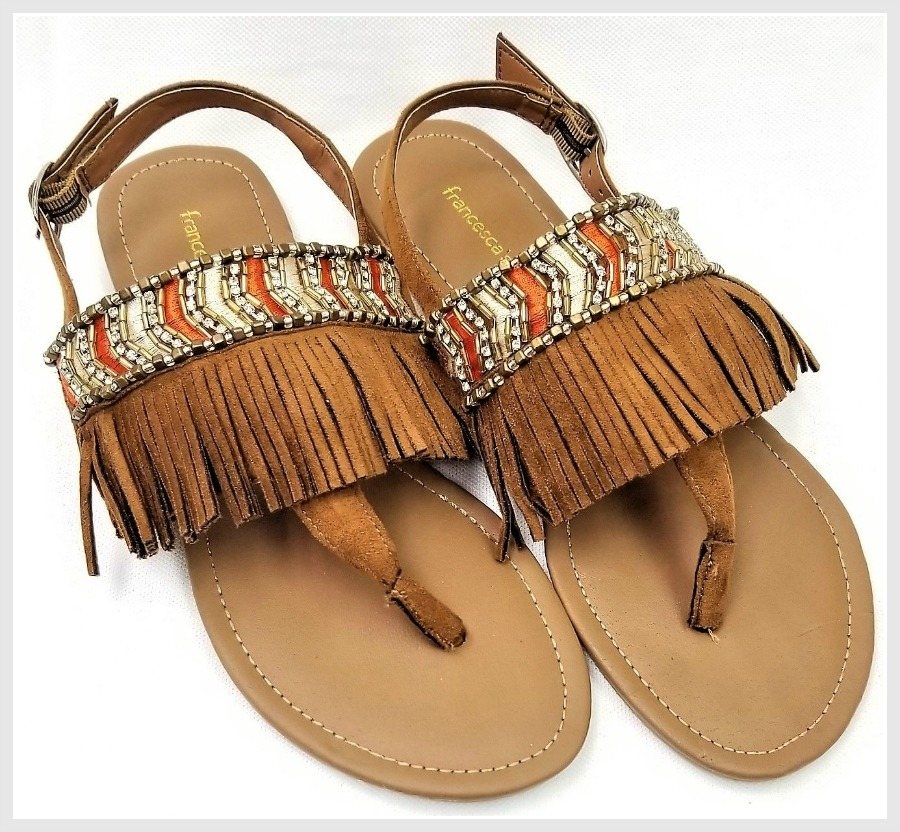 ON THE FRINGE SANDALS Beaded Striped Fringe Brown Faux Leather Sandals