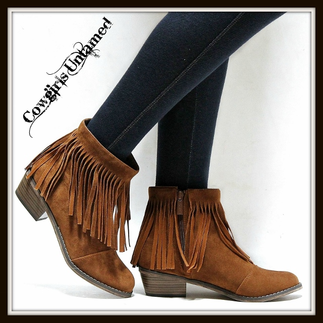 COWGIRL STYLE BOOTS Brown Fringe Ankle Western Boots