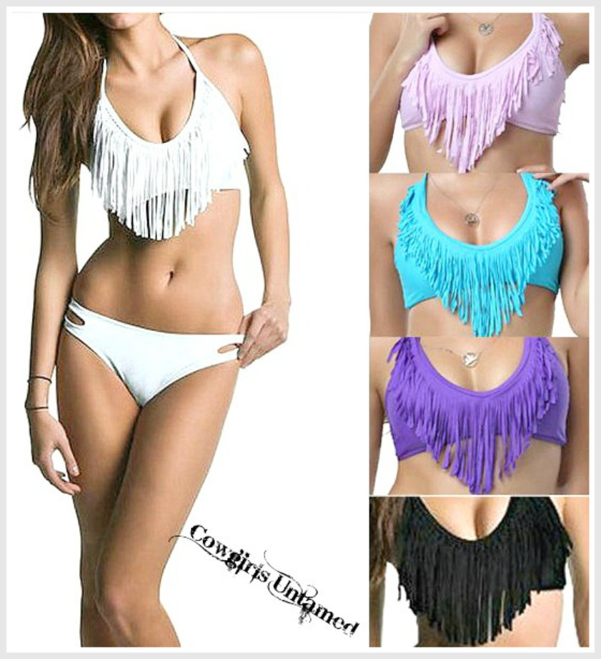 COWGIRL GYPSY BIKINI Padded Boho Fringe Halter Style Western Bikini Swimsuit - 2 piece