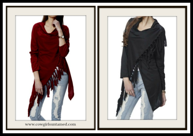 COWGIRL STYLE SWEATER Jersey Knit Fringe Long Sleeve Lightweight Cardigan