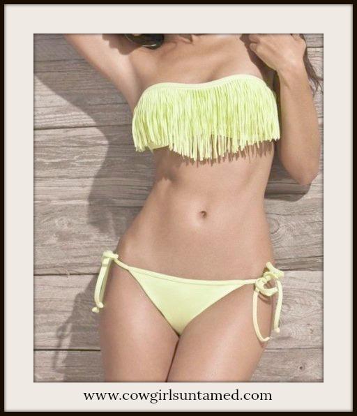 COWGIRL GYPSY BIKINI Fringe Strapless String Yellow Bikini - 2 Piece