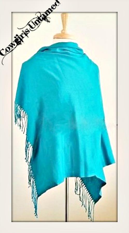 WILDFLOWER SCARF SHAWL Turquoise Cashmere Pashmina Fringe Wrap Scarf LAST ONE!