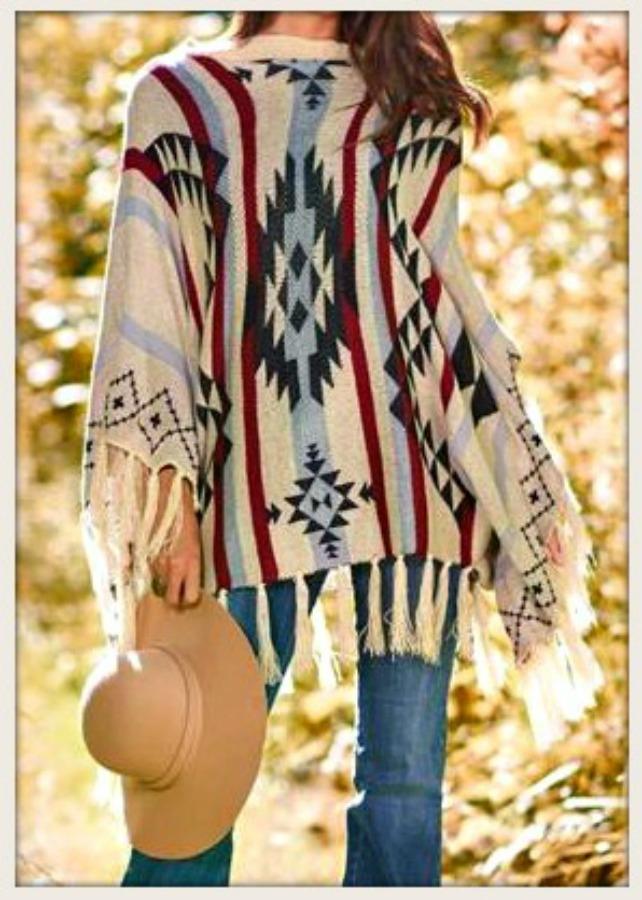 COWGIRL STYLE PONCHO Fringe Aztec Sweater Poncho