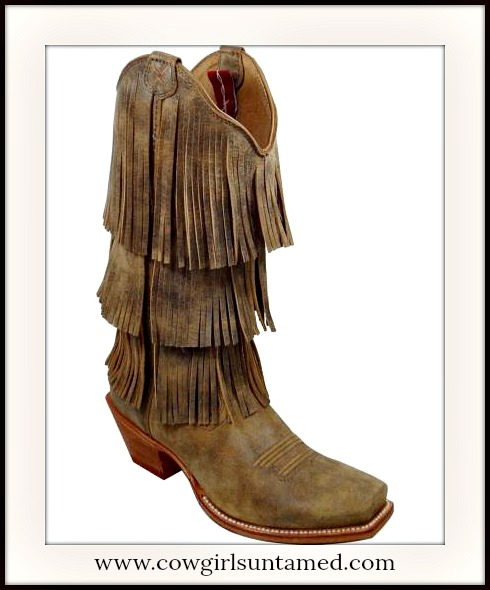 BOHO GYPSY BOOTS Brown Fringe Cowgirl Boots