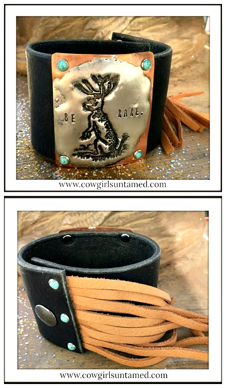 """COWGIRL STYLE CUFF """"Be Rare"""" Jackalope Fringe Leather Western Bracelet"""