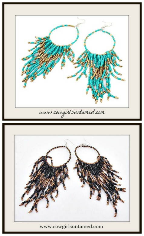 BOHEMIAN COWGIRL EARRINGS Fringe Hoop Earrings  2 COLORS!