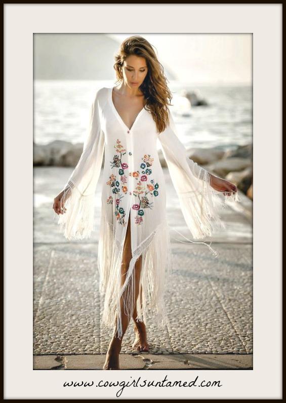 BOHEMIAN COWGIRL DRESS Multi Color Floral Embroidered White Fringe Midi Dress