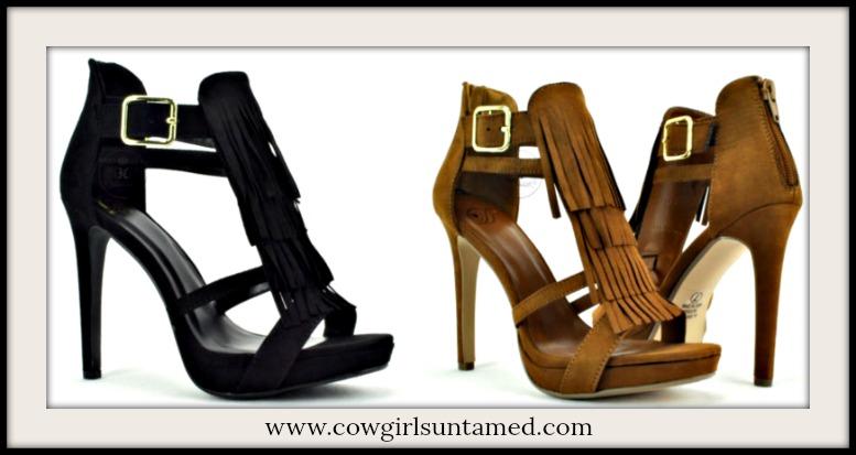 COWGIRL GLAM HEELS Fringe Platform Stiletto Heels