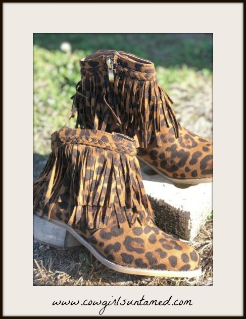 CLASSY COWGIRL BOOTS Black and Brown Leopard Print Layered Fringe Ankle Boots