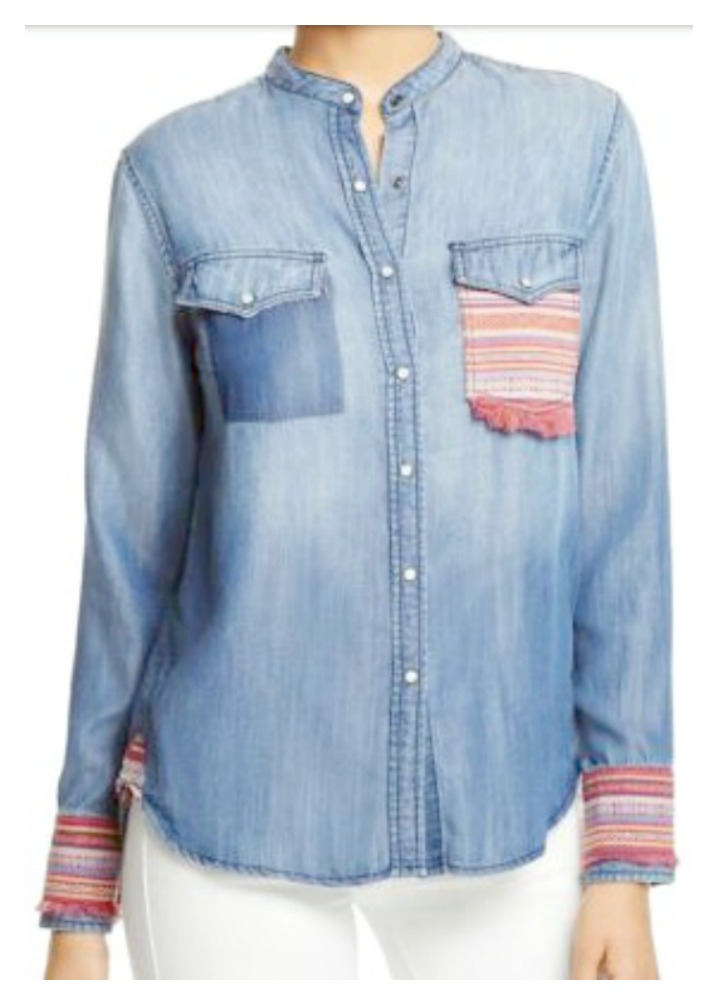 BOHEMIAN COWGIRL TOP Chambray Jean Fringe Snap Front Western Shirt Top 2 LEFT M or L