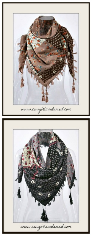 BOHEMIAN COWGIRL SCARF Floral Mixed Pattern Tassel Scarf Shawl  2 COLORS!