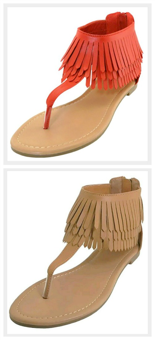 ON THE FRINGE SANDALS Faux Leather High Ankle Fringe Thong Sandals 2 COLORS!