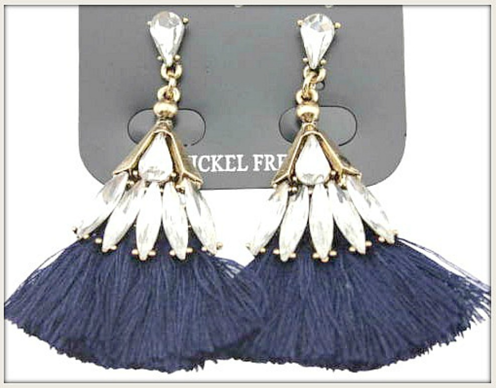 BOHO CHIC EARRINGS Antique Bronze Rhinestone Navy Blue Fringe Earrings LAST PAIR!
