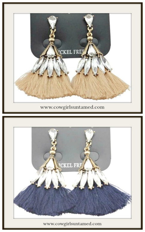 BOHO CHIC EARRINGS Antique Bronze Rhinestone Fringe Earrings  2 COLORS!