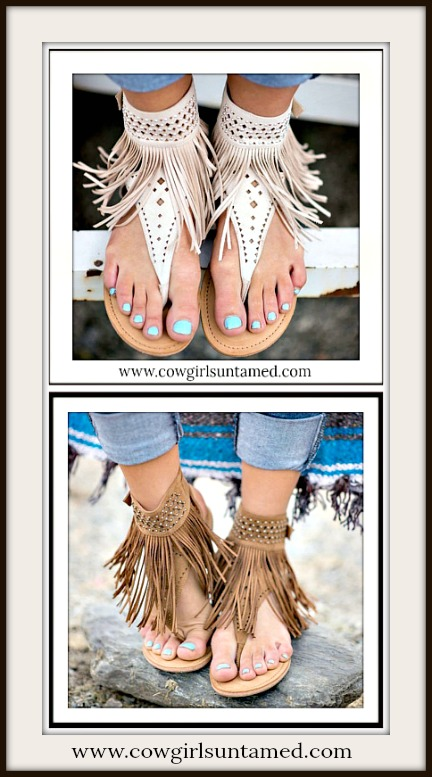 BOHEMIAN COWGIRL SANDALS Fringe Flat Summer Boho Chic Sandals