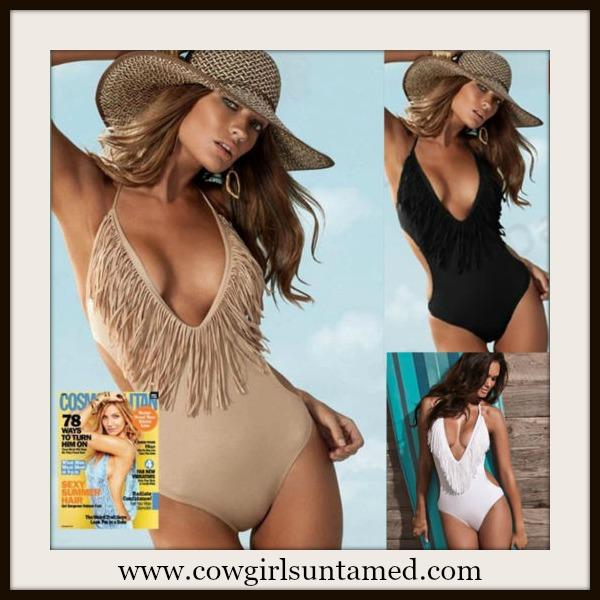 COWGIRL STYLE SWIMSUIT One Piece V Neck Monokini Fringe Western Bathing Suit