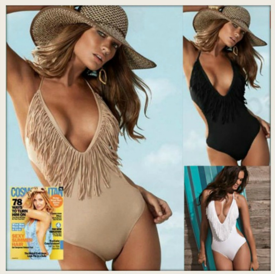 COWGIRL GYPSY SWIMSUIT One Piece V Neck Monokini Fringe Western Bathing Suit  4 COLORS!