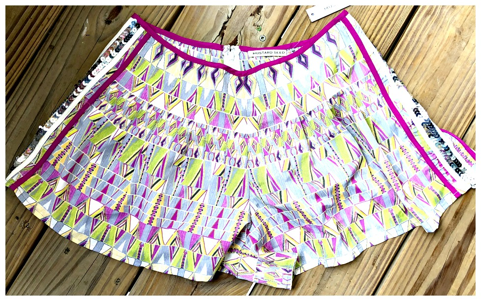 HOT SUMMER NIGHTS SHORTS Silver Sequin Trim Fuchsia Stripe Lime Yellow White Mixed Pattern Shorts