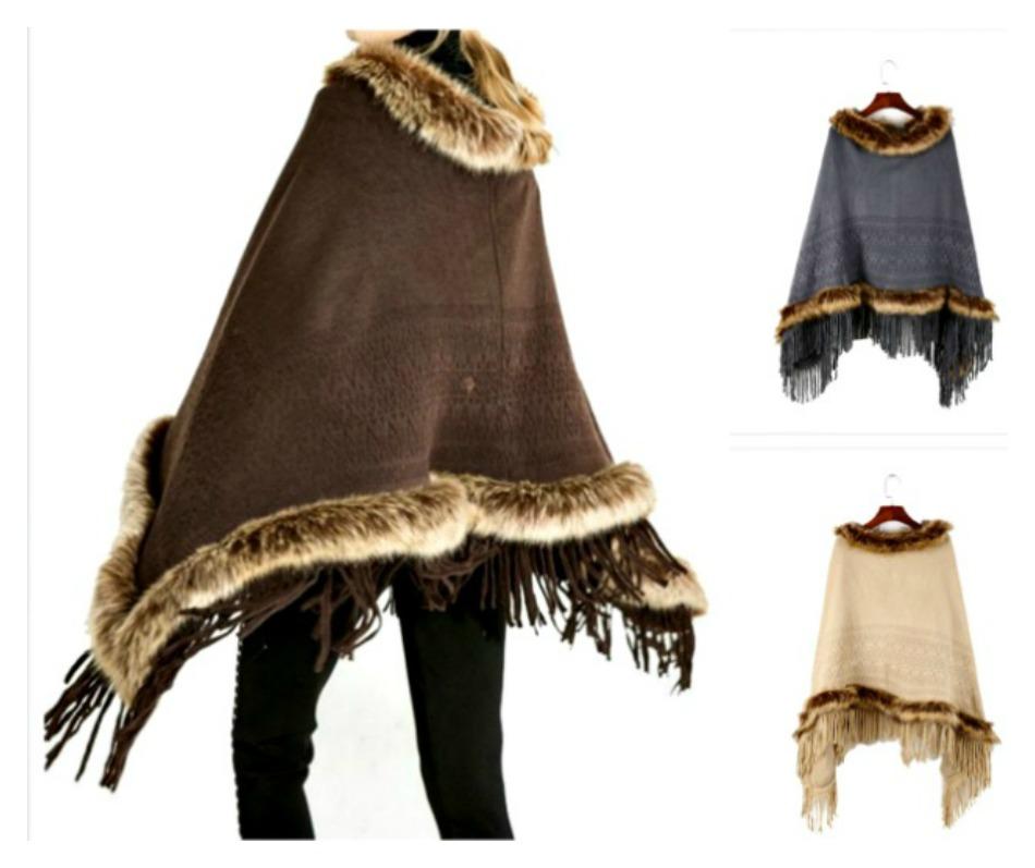 BOHO CHIC PONCHO Faux Fur Collar Fringe Long Sleeve Hooded Boho Poncho