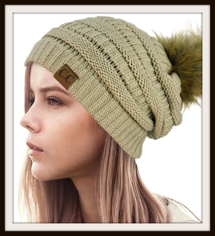 0ce5a74f4ab Knit Beanie Hat with Faux Fur Pom Pom