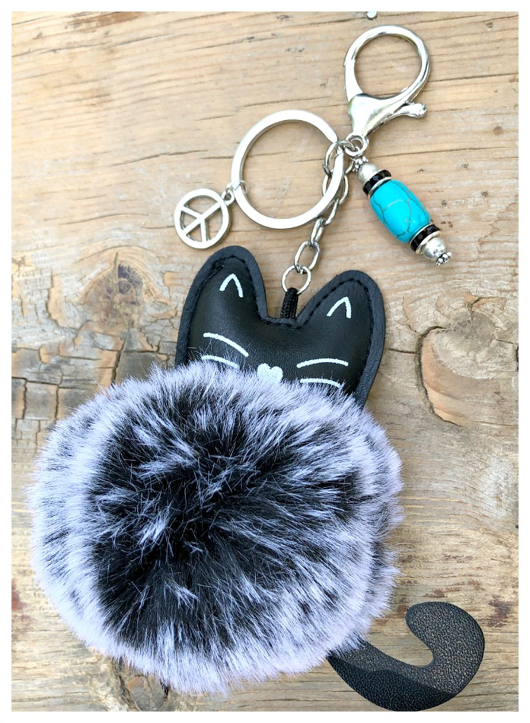 KITTY KITTY KEYRING Unique Black Fur Leather Cat w/ Custom Turquoise Rhinestone Silver Charm & Peace Charm Key Chain Purse Jewelry