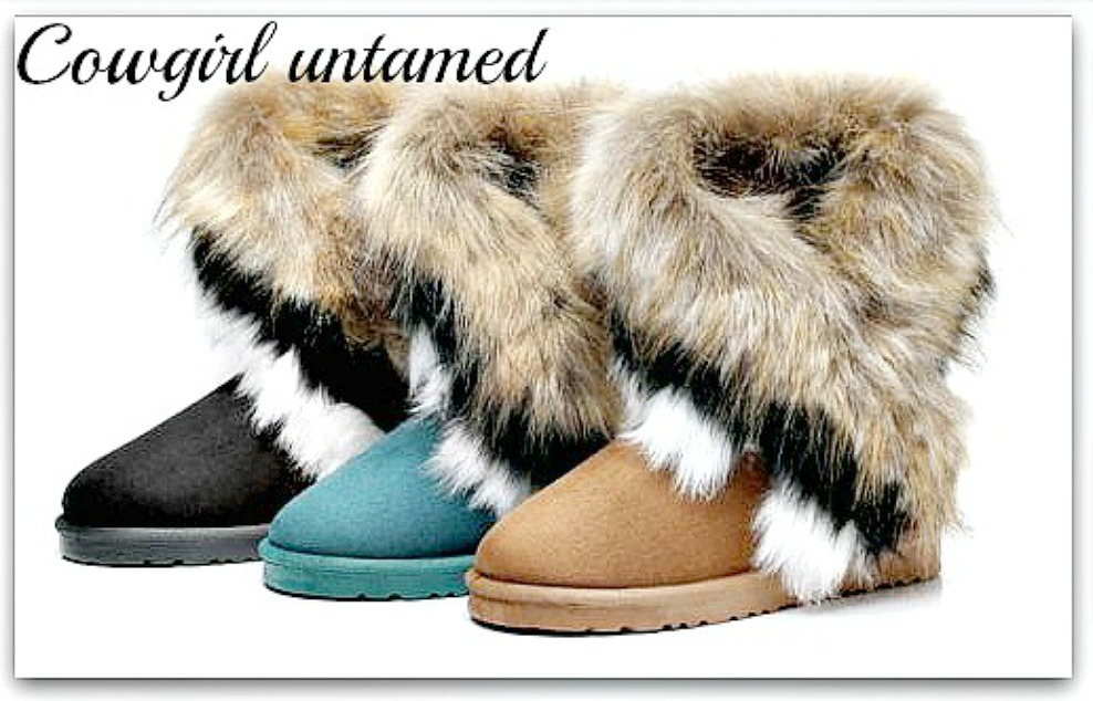 COWGIRL GYPSY BOOTS Fox Fur n Suede Mid-Calf Winter Boots