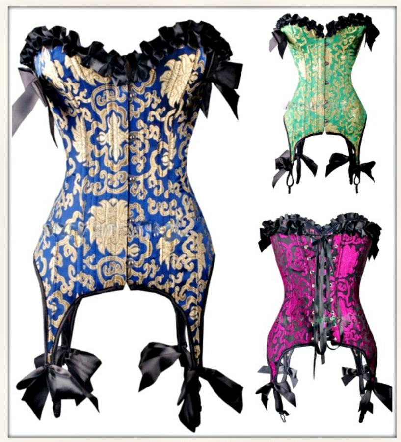 CORSET - Gold Brocade Satin Black Ruffle Lace Up Back Garter Suspenders Corset  3 COLORS