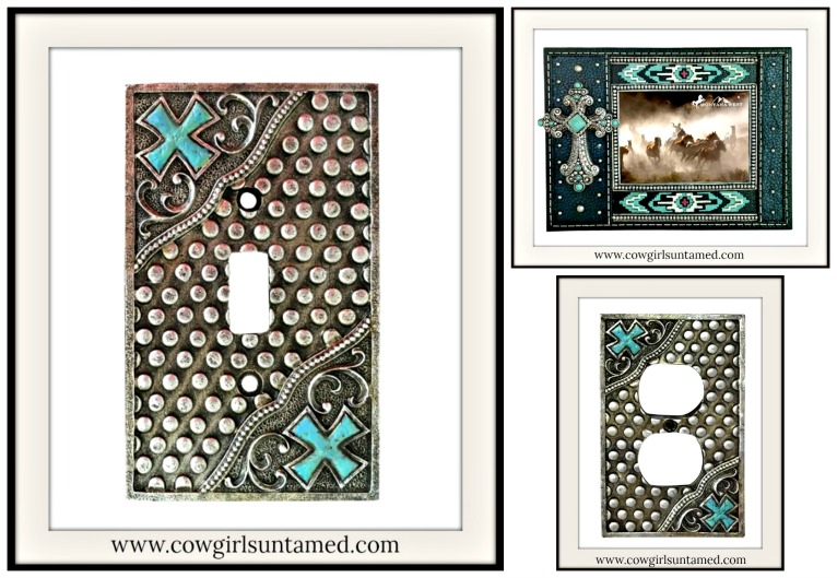 COWGIRL STYLE DECOR Turquoise Cross And Antique Silver