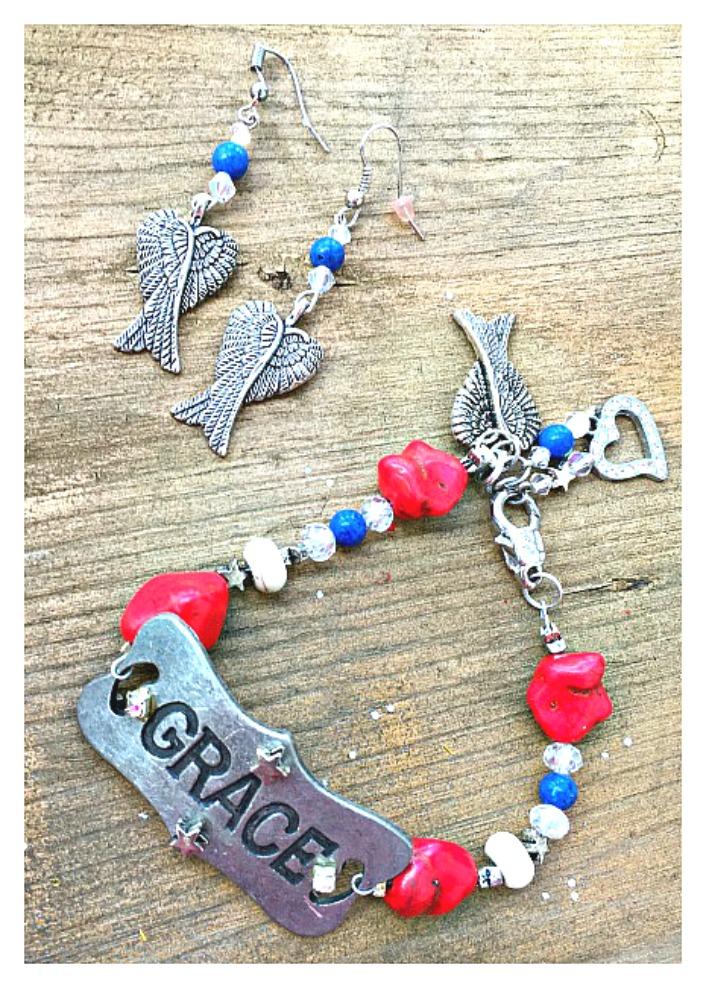 "COWGIRL STYLE BRACELET SET Red White Blue ""Grace"" Charm Bracelet Earrings Set"