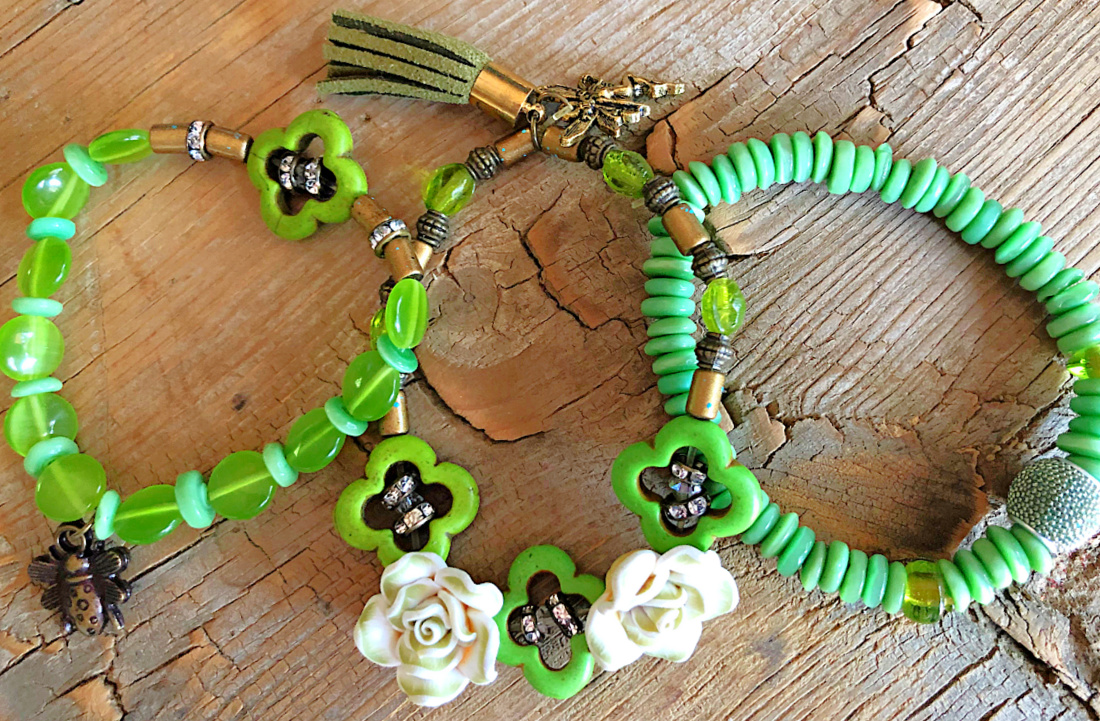 THE SECRET GARDEN JEWELRY SET Handmade Antique bronze Fairy & Ladybug Tassel Charm Rhinestone Green Beaded Flower Bracelet Set of 3