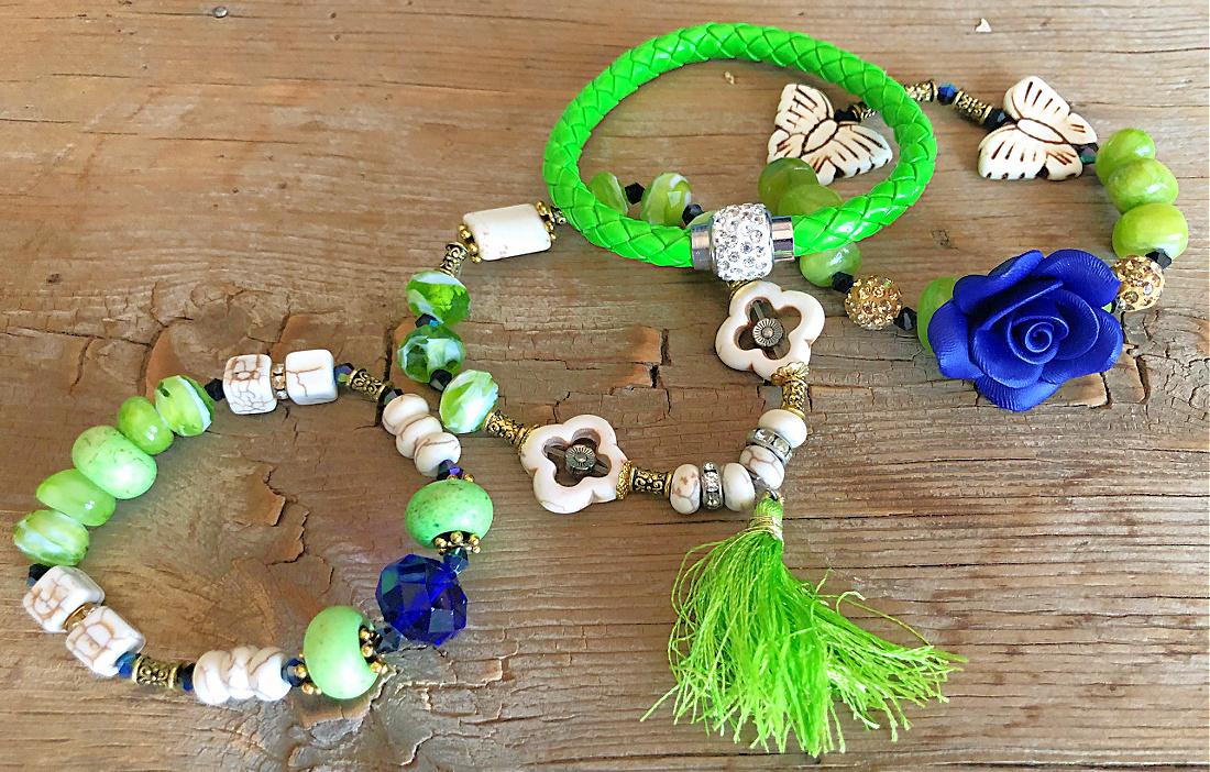 WILDFLOWER JEWELRY SET Handmade Rhinestone Green & Blue Beaded Charms Tassel Gold Bracelet 4 pc Set