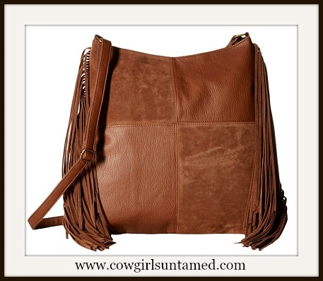 COWGIRL GYPSY HANDBAG Cognac Brown Leather Fringe Designer Crossbody Handbag