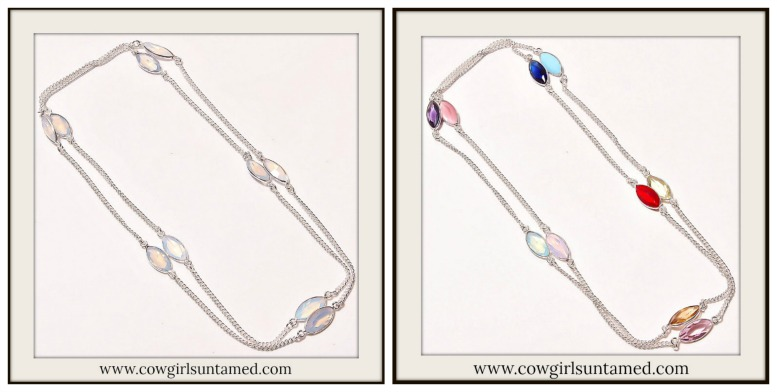 BOHEMIAN COWGIRL NECKLACE Gemstone Long Sterling Silver Boho Chic Necklace
