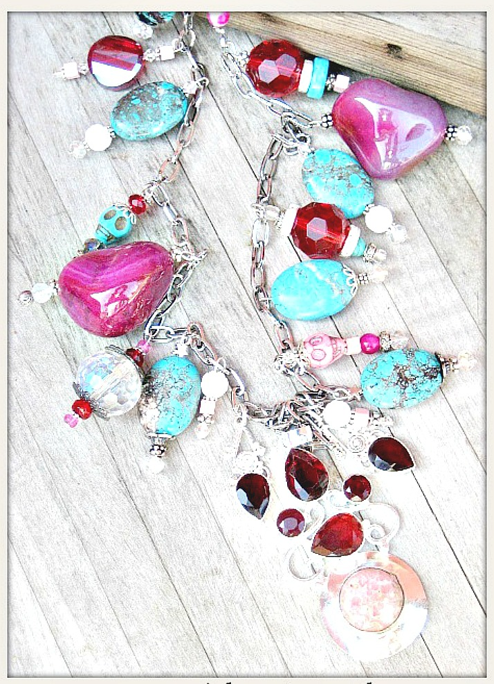 GOING GLAM NECKLACE Custom Pink Gemstone 925 Sterling Large Pendant with Crystal, Gemstone & Skull Charms on Chunky Long Necklace