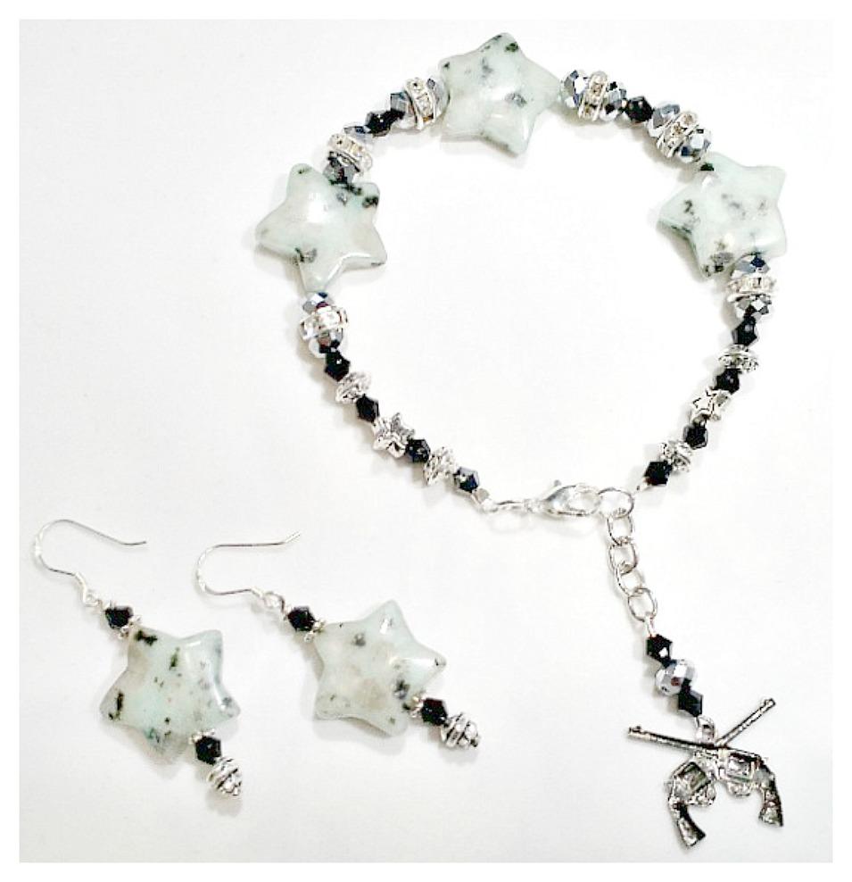 COWGIRL GYPSY JEWELRY SET Rhinestone Black Crystal Star Gemstone Earrings & Bracelet Set
