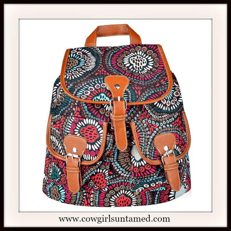 WILDFLOWER BACKPACK Multi Color Geometric Ethnic Canvas and Brown Leather Backpack RuckSack