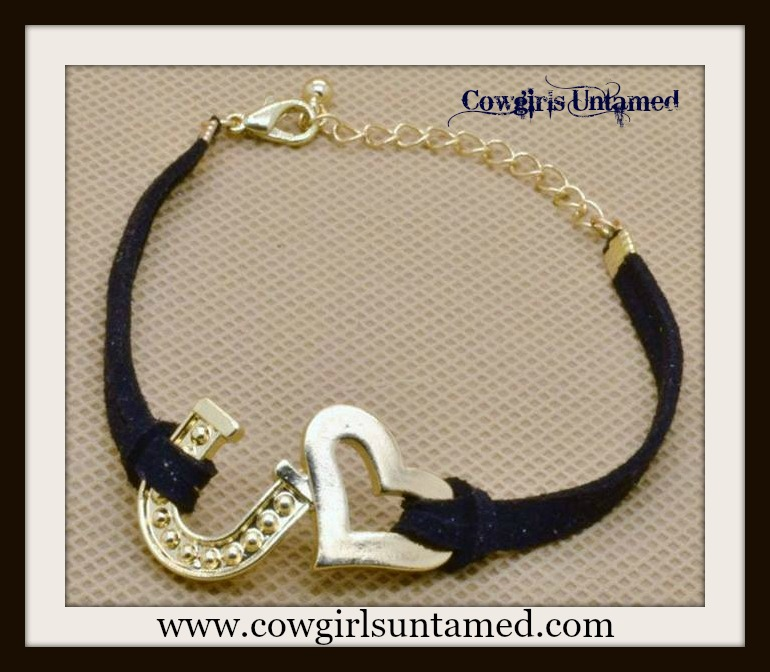 HORSE LOVIN' COWGIRL BRACELET Gold Heart and Horseshoe on Black Suede Western Bracelet