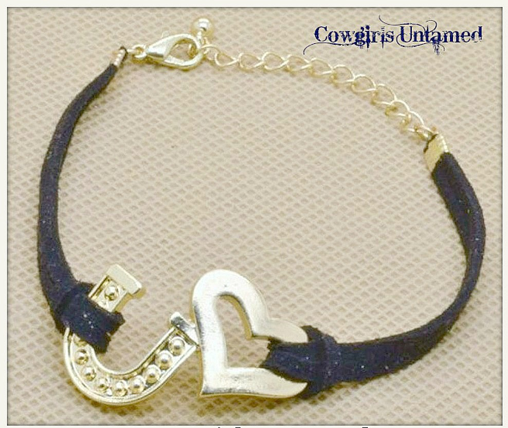 HORSE LOVIN' COWGIRL BRACELET Gold Heart and Horseshoe on Black Suede Western Bracelet